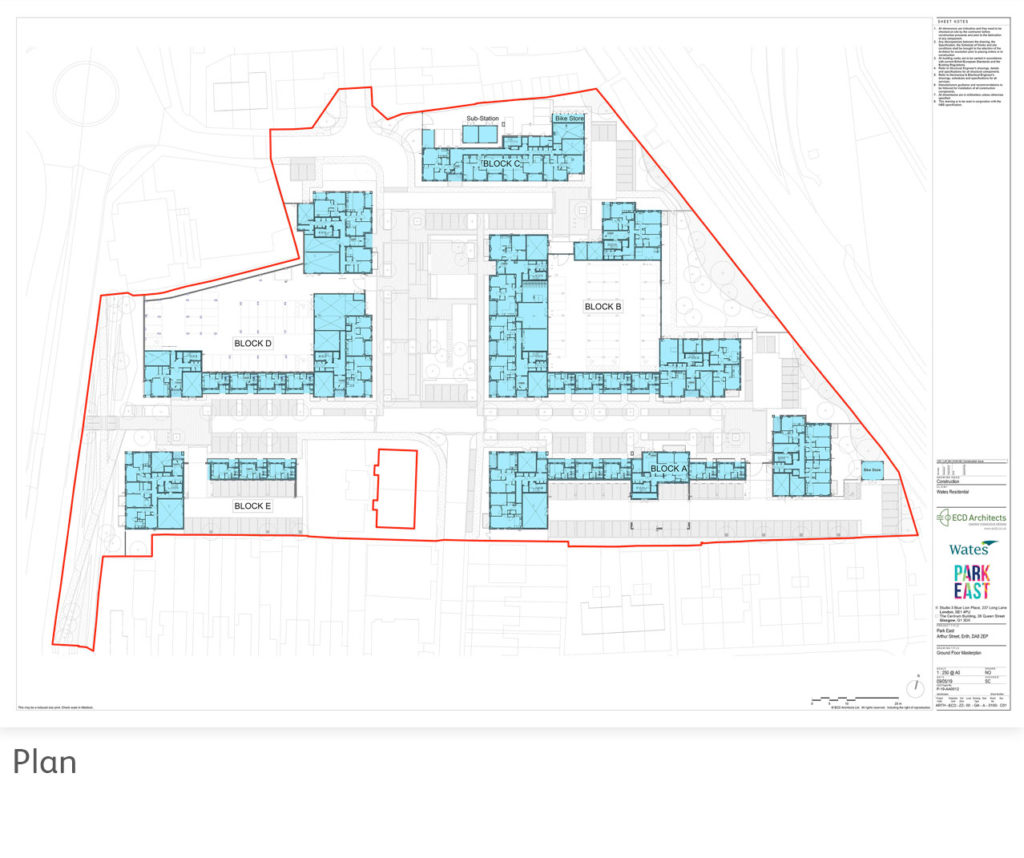 Park East Plan of new development buildings