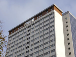 Photo of one of the 3 towers which ECD refurbished on the Edward Wood Estate