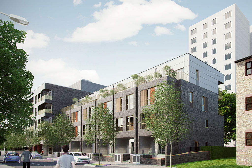 CGI of Tops Club maisonettes with flats above