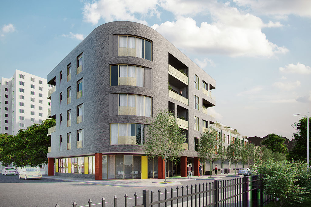 CGI of Tops Club 'tower' block providing flats above community space