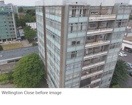 Wellington Close: photo before declad / reclad