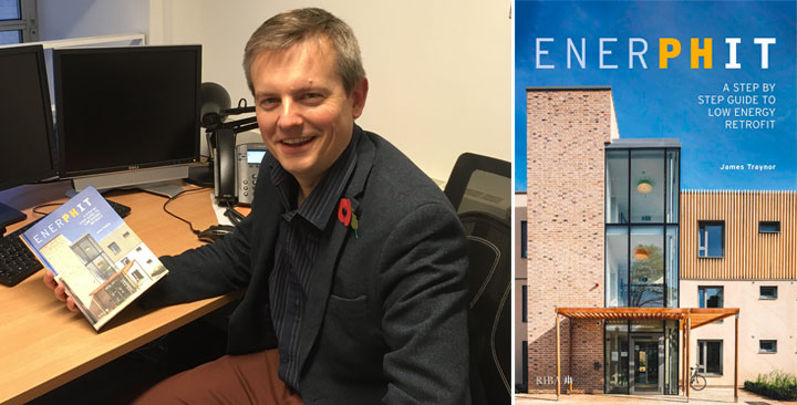 Image of James Traynor with his newly published book: EnerPHit - a step by step to retrofit