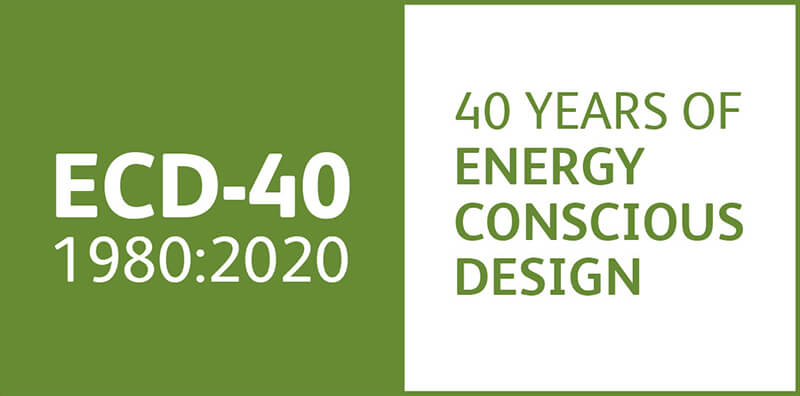 Our banner for 40 Years of Energy Conscious Design