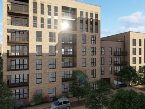 CGI of the Park East new build large scale development providing 320 homes
