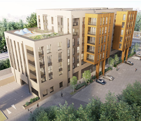 Shuttleworth Road: a new build development providing 71 affordable homes in a scheme ranging from three- to seven-storeys in height set across four cores.